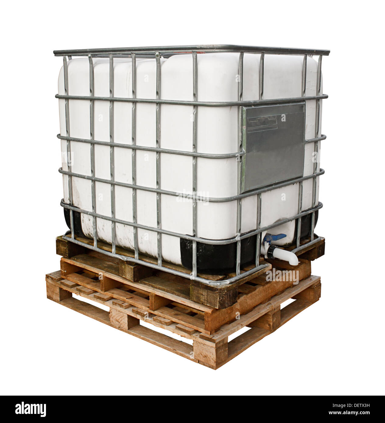 Chemicals container for heavy industry isolated against a white background - Stock Image