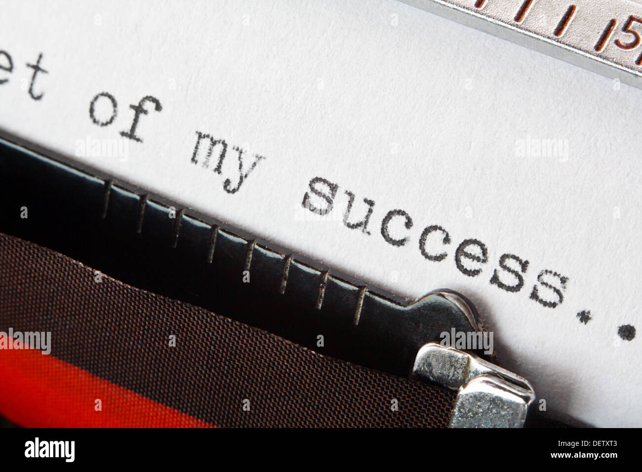 Old fashioned typewriter with the phrase secret of my success, good for business presentation - Stock Image