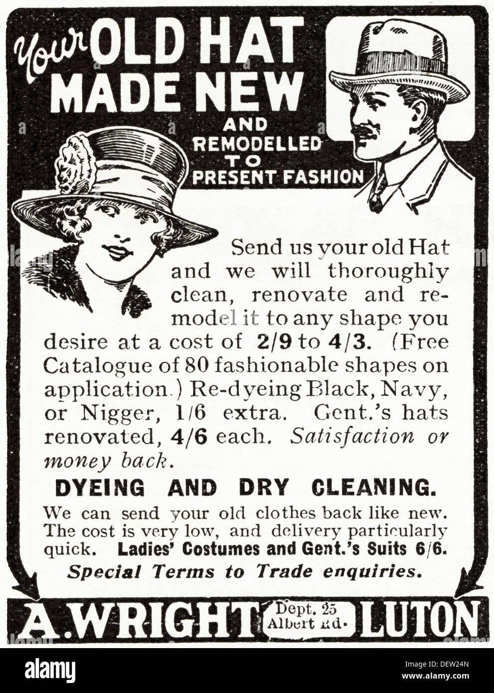 Original 1920s advertisement advertising remodeling of old hats for present fashion, consumer magazine advert circa Stock Photo