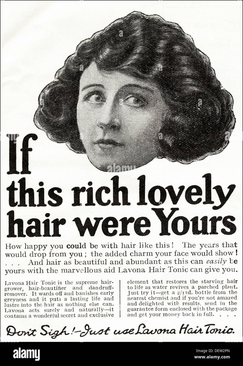 Original 1920s advertisement advertising LAVONA HAIR TONIC, consumer magazine advert circa 1924 Stock Photo