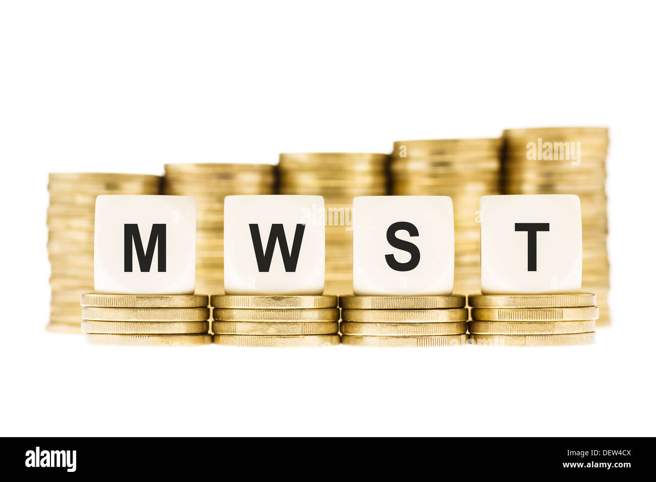MWST (German Value Added Tax) on Gold Coins Isolated on White - Stock Image