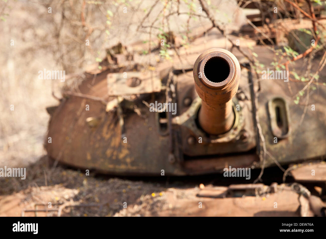 Destroyed northern Sudanese tank, Juba-Bor road, southern Sudan, December 2010 - Stock Image