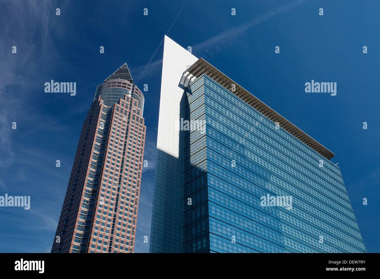 Messeturm, symbol of the fair trade area in Frankfurt, Germany - Stock Image