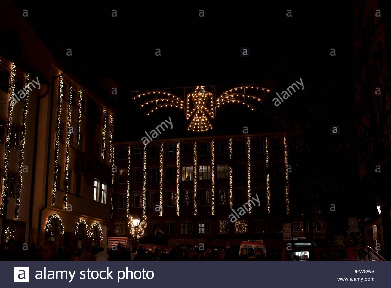 Famous Christmasmarket in Nuremberg in the evening. Abendstimmung auf dem  Nürnberger Weihnachtsmarkt Stock Photo