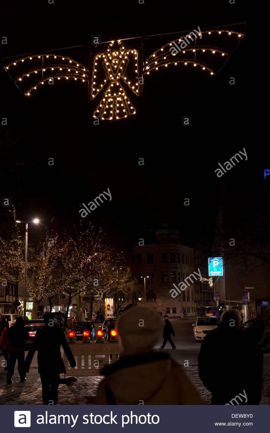 Famous Christmasmarket in Nuremberg in the evening. Abendstimmung auf dem  Nürnberger Weihnachtsmarkt - Stock Image