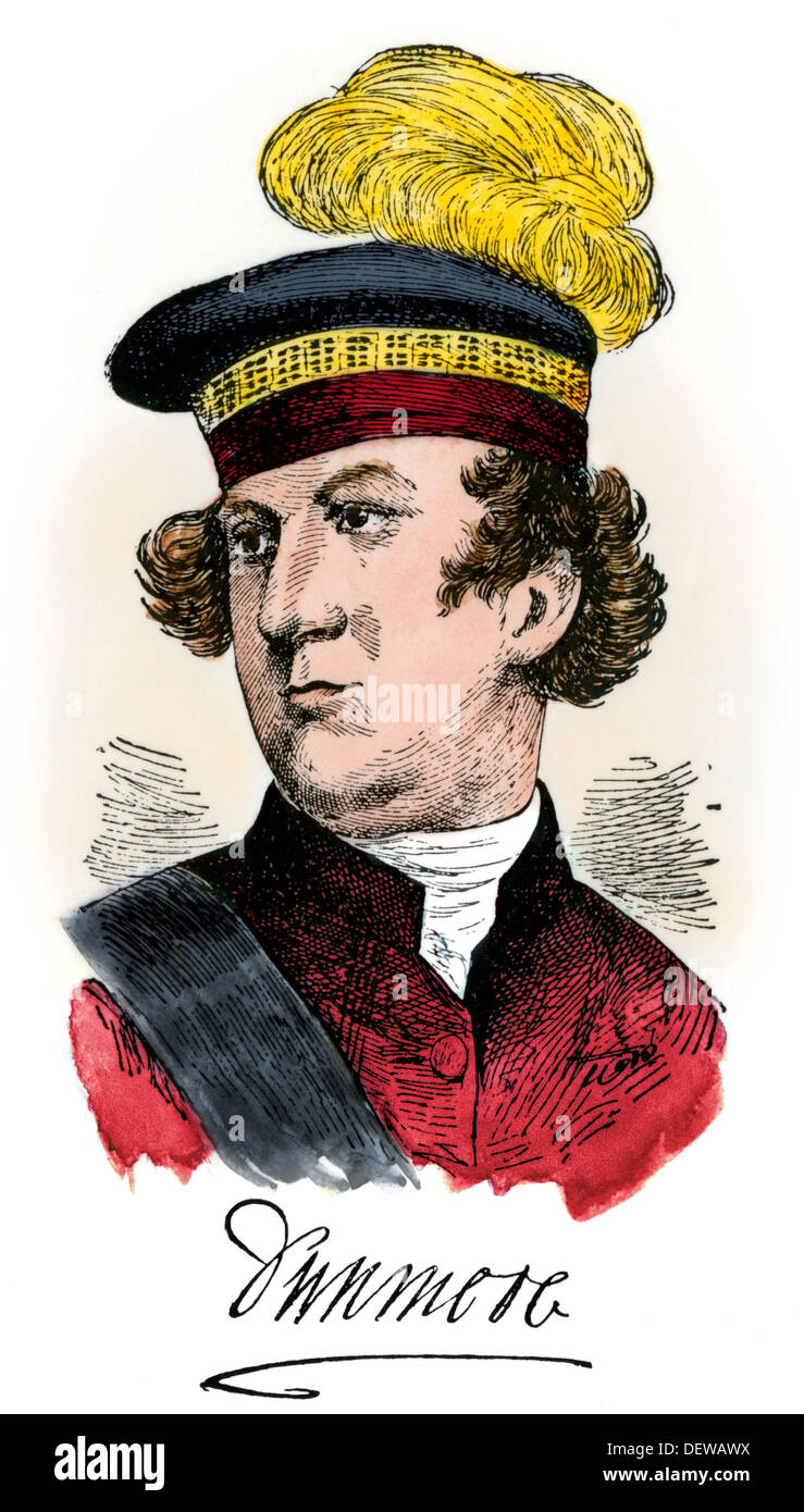 Colonial governor John Murray, Earl of Dunmore. Hand-colored woodcut - Stock Image
