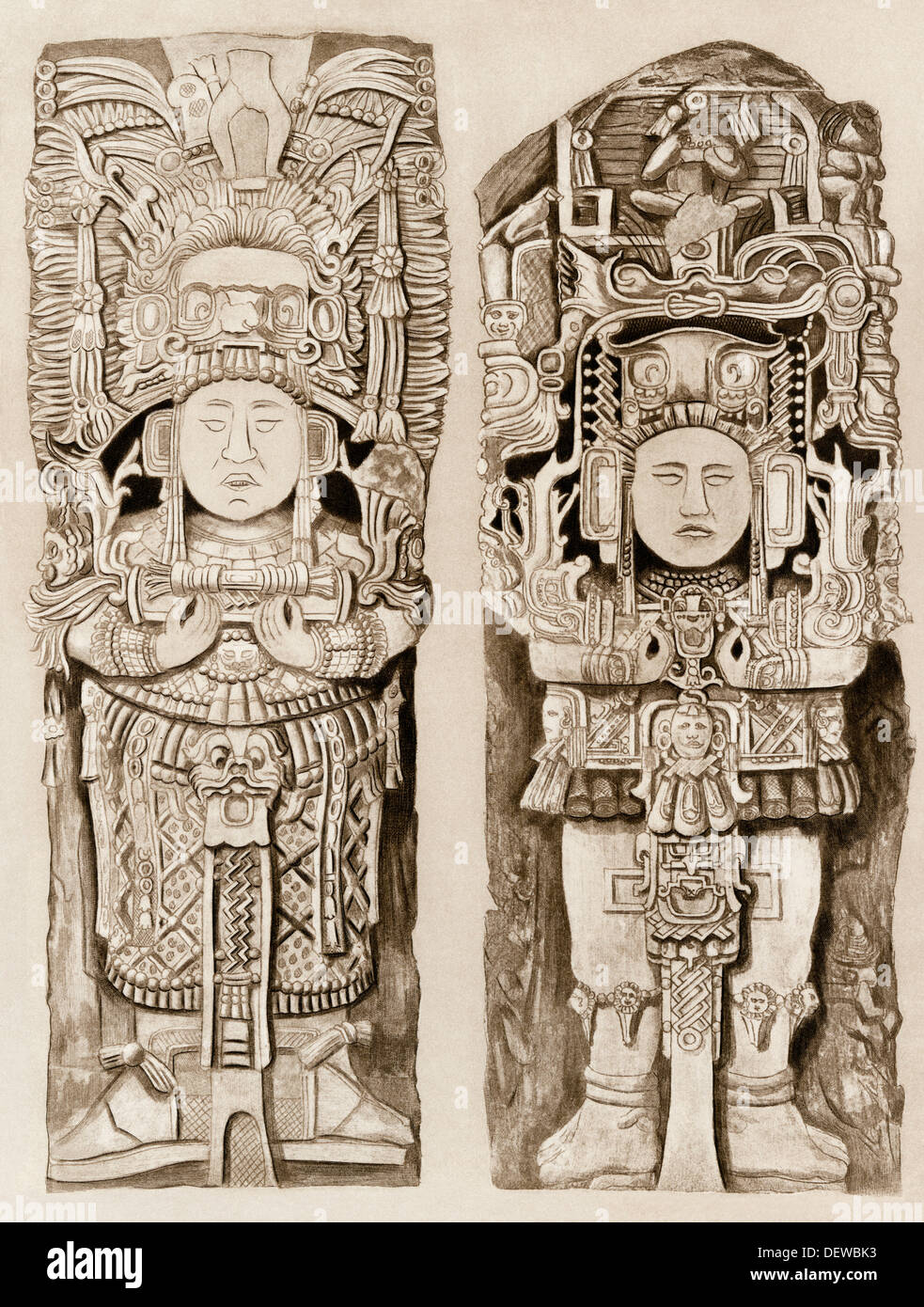 Obelisk statues from the Mayan ruins of Copan, Honduras. Photogravure - Stock Image