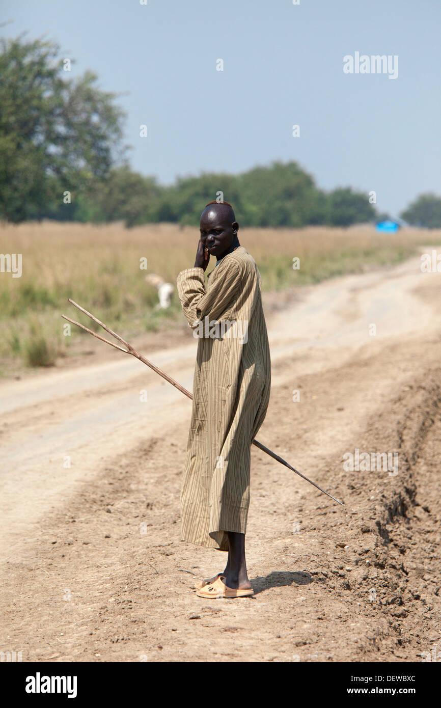 Dinka cattle herder, Lilir Sudan, December 2010 - Stock Image