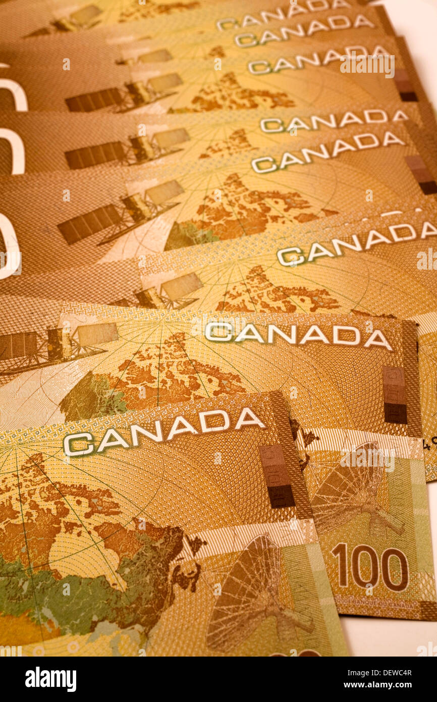 Canadian One-Hundred Dollar Currency Bank Notes, Studio Composition - Stock Image