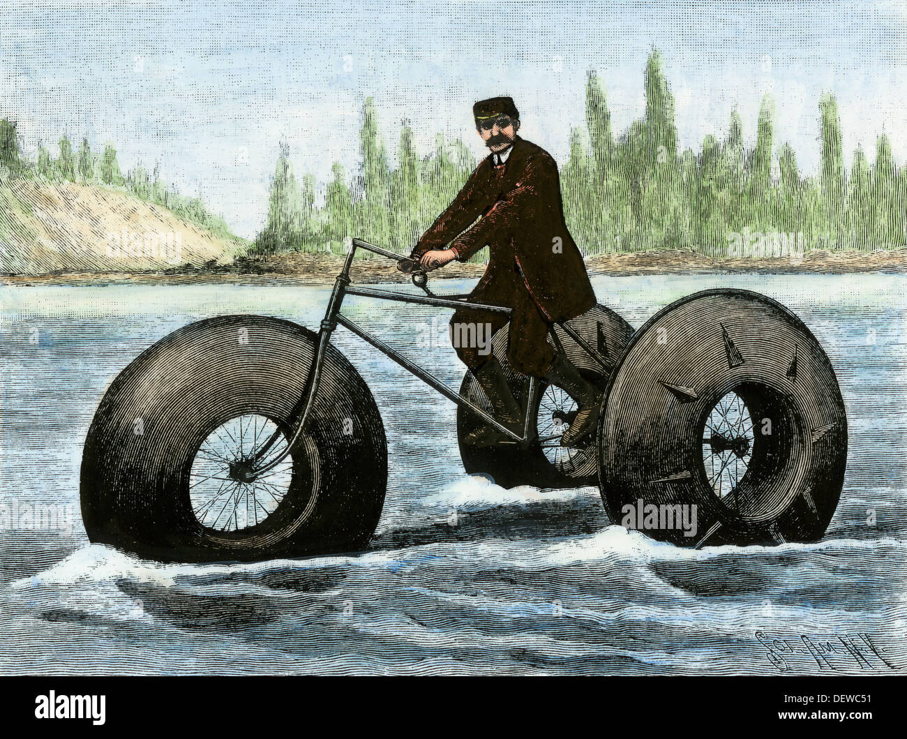 Amphibious tricycle which used inflated rubber tires, France, 1890s. Hand-colored woodcut - Stock Image