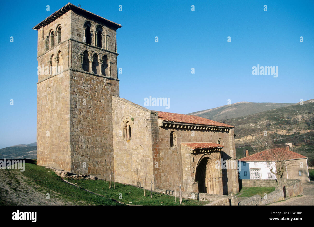 Romanesque collegiate church (XIIth century). Cervatos. Antabria. Spain. - Stock Image