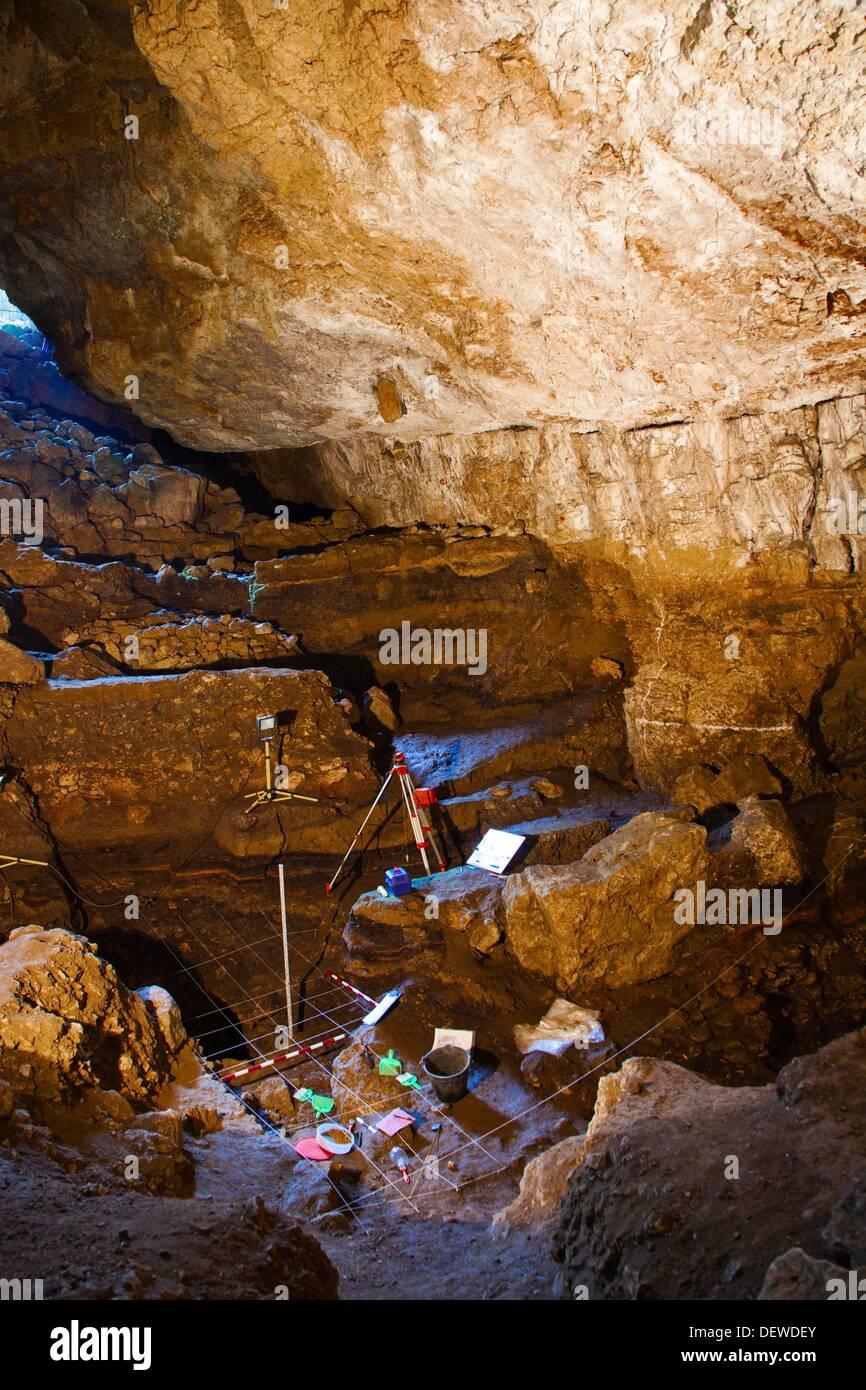Reproduction of an archeologic excavation  El Pendo cave  Escobedo, Camargo  Santander  Cantabria  Spain. - Stock Image
