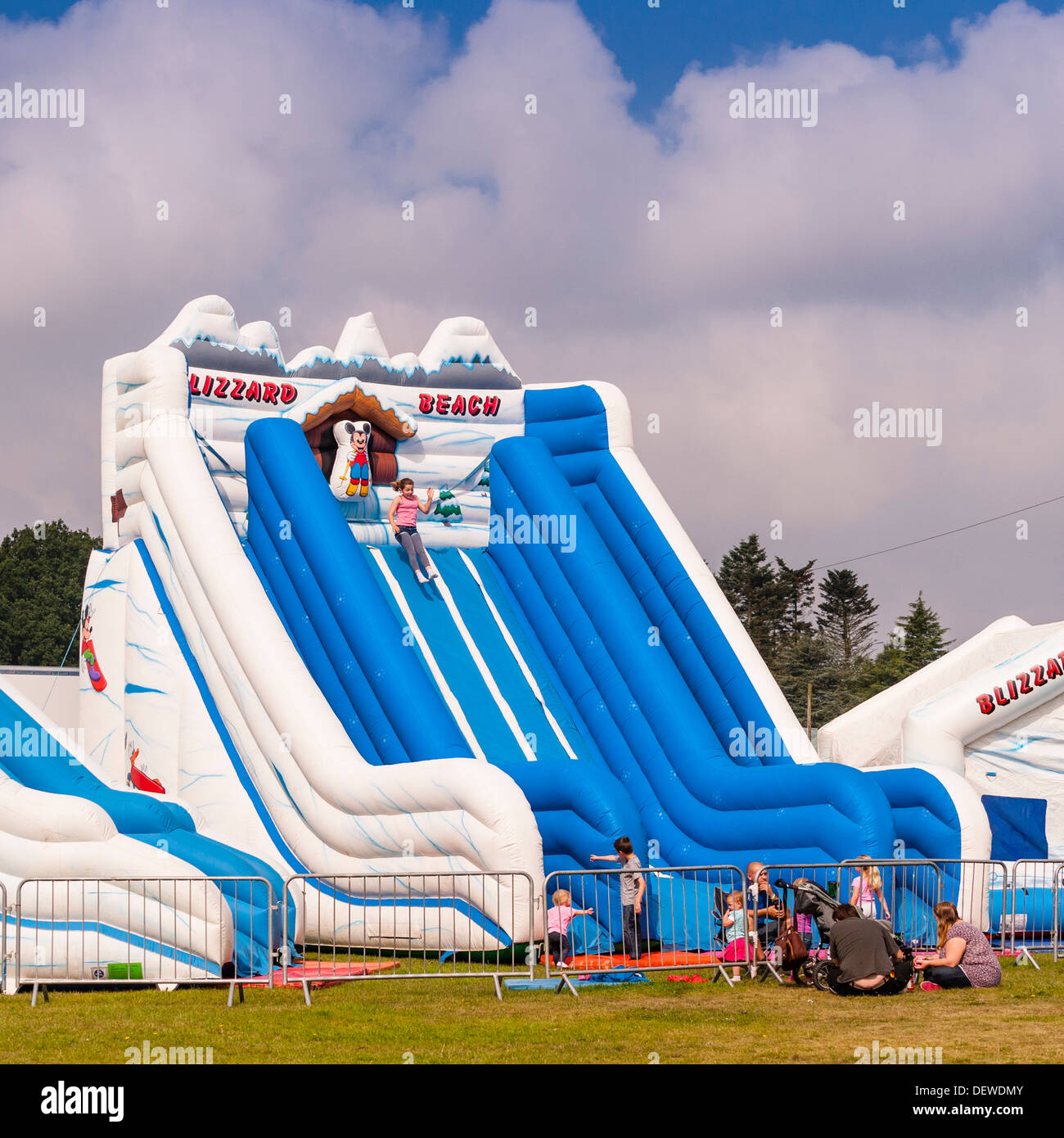 A bouncy inflateable slide at The All About Dogs Show at the Norfolk Showground, Norwich, Norfolk, England, Britain, Uk - Stock Image