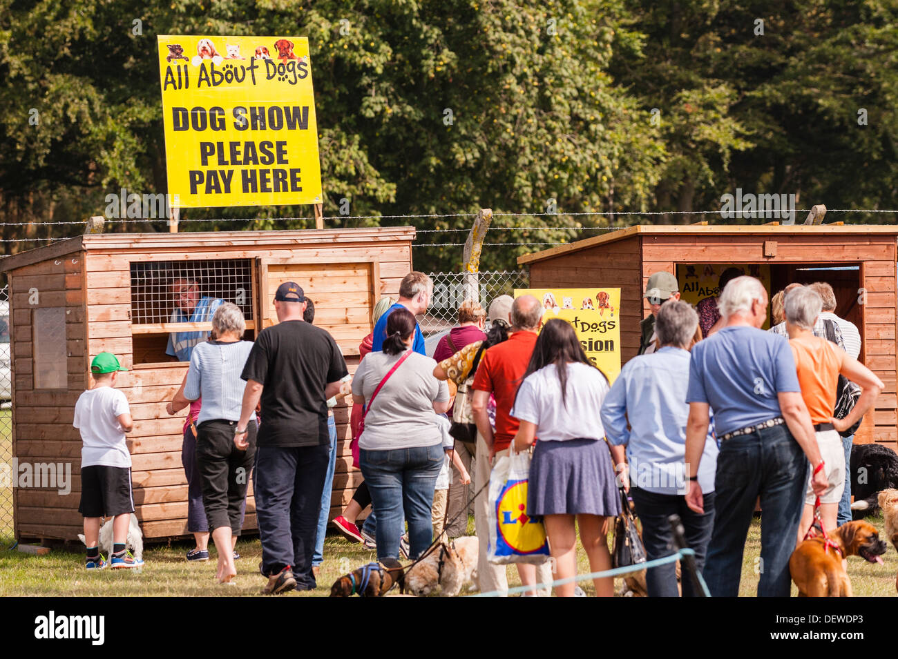 The entrance at The All About Dogs Show at the Norfolk Showground, Norwich, Norfolk, England, Britain, Uk - Stock Image