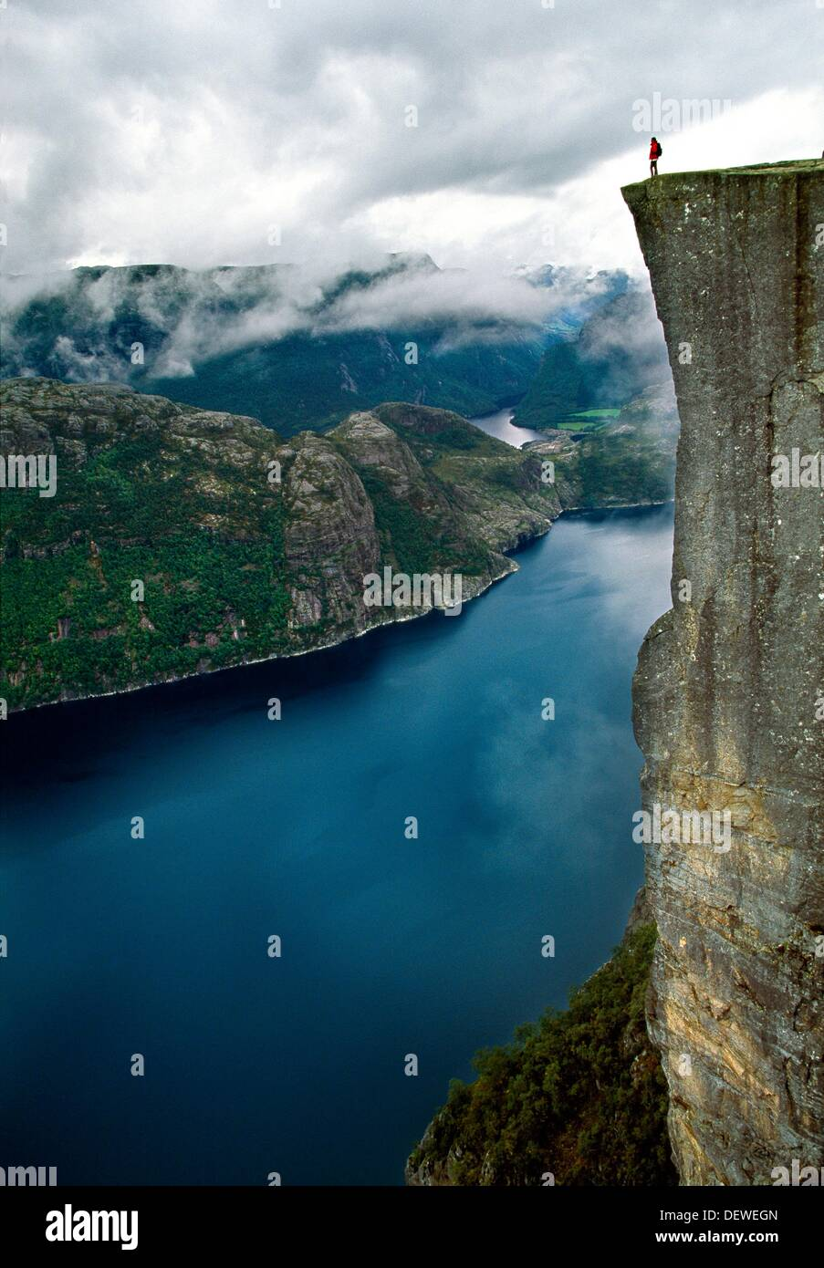 Preikestolen, Pulpit Rock, 600 meters over LyseFjord, Lyse Fjord, in Ryfylke district, Rogaland Region, It is the most popular - Stock Image