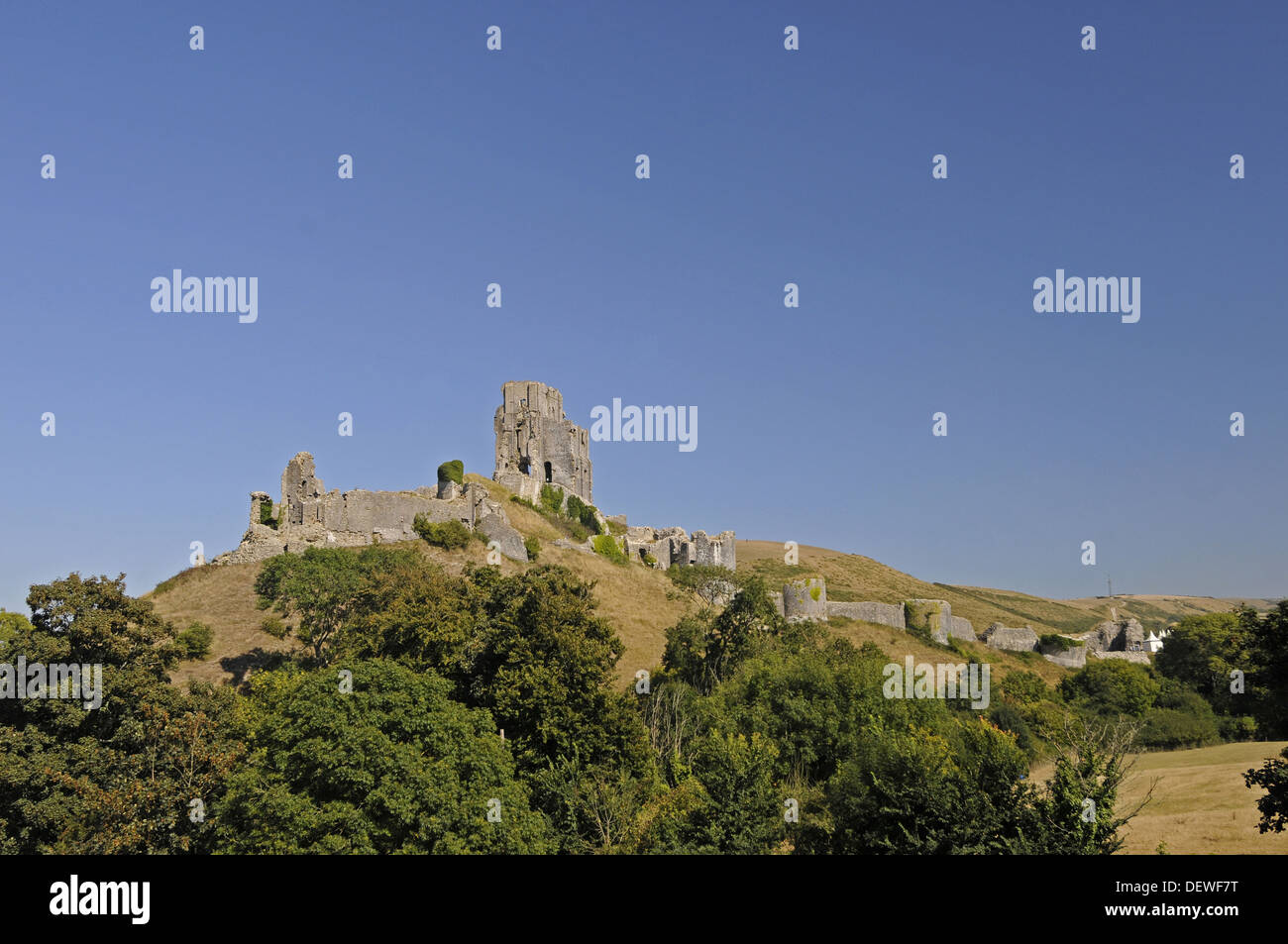 View over trees to ruins of Corfe Castle with town of Corfe in background , Isle of Purbeck Dorset England Stock Photo