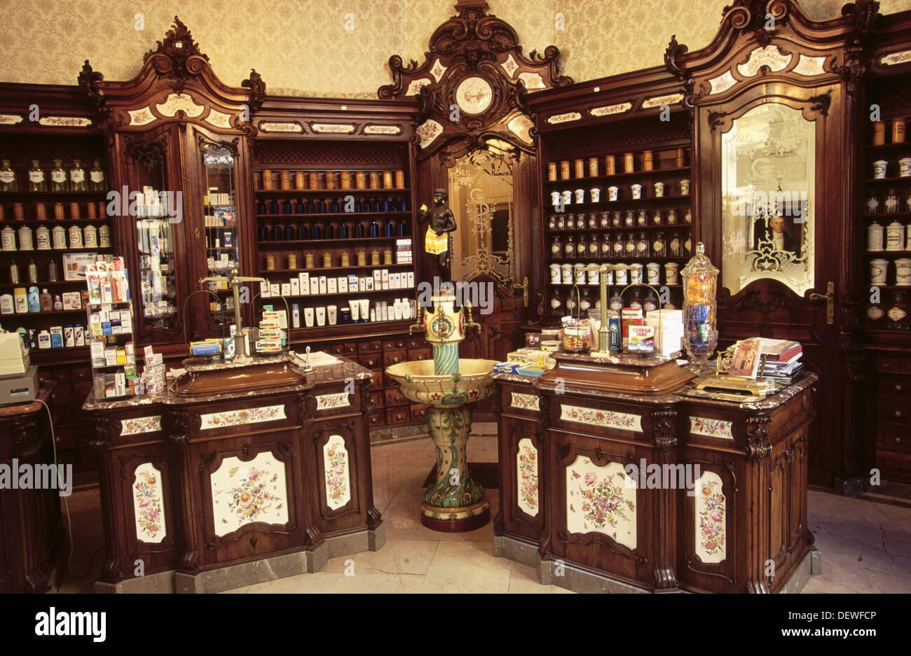 Old chemist with neo-Baroque furniture (c. 1897). Pécs. Hungary - Stock Image