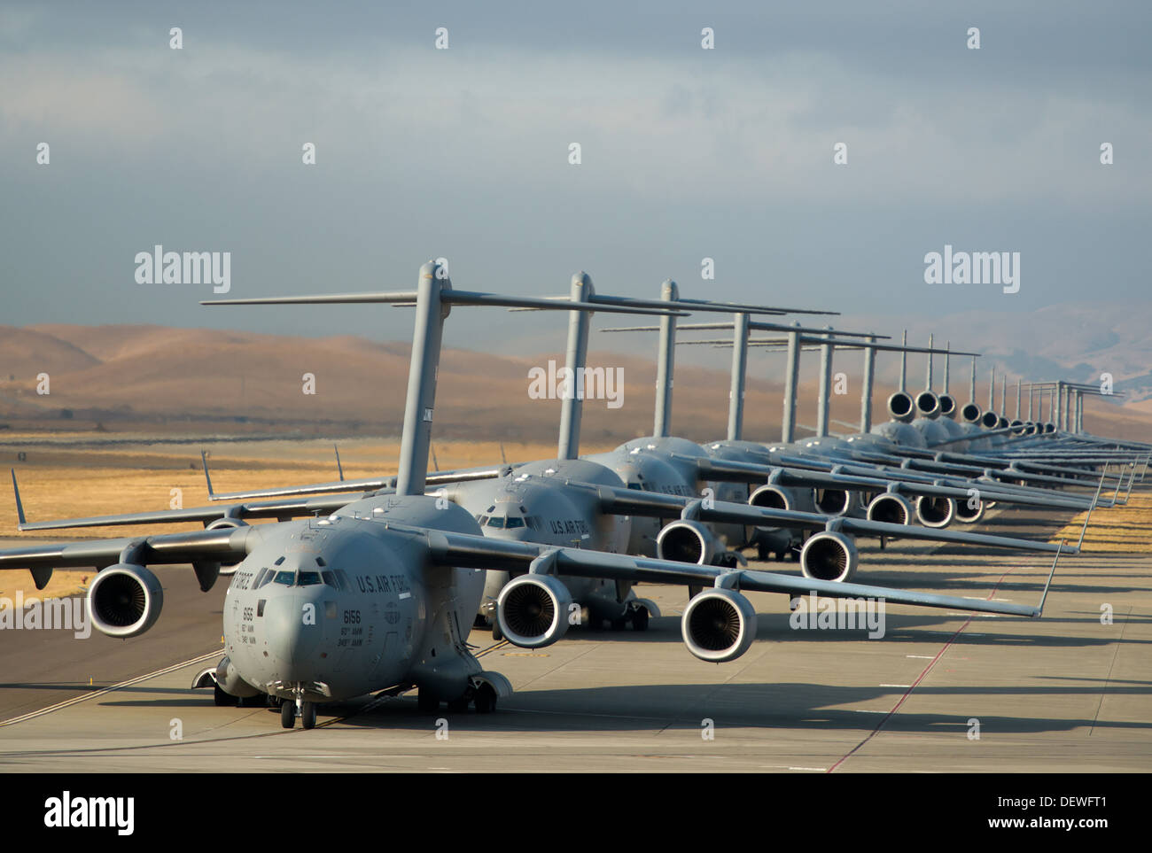 A 22-aircraft 'freedom launch' took place at Travis AFB, Calif., Sept. 11, 2013. Seven C-17 Globemaster IIIs, 11 KC-10 Extenders and four C-5B Galaxies from the 60th Air Mobility Wing lined up in what is historically referred to as an 'elephant walk,' the - Stock Image