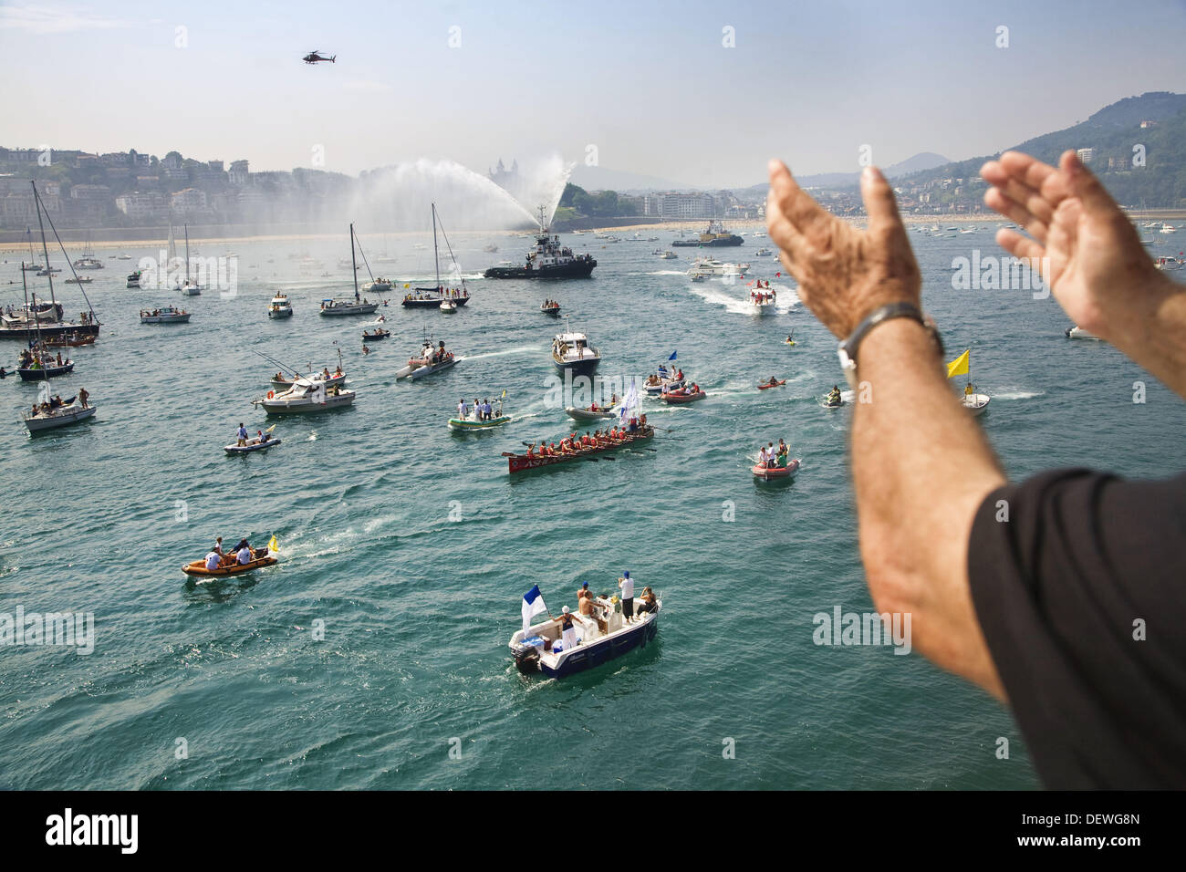 ´Bandera de La Concha´ rowing boat competition held annually in La Concha bay on the first two weekends in September, it draws - Stock Image