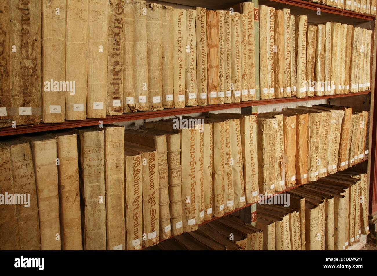 13th century books preserved in the library of Yuso Monastery, San Millan de la Cogolla, Way of St James, La Rioja, Spain - Stock Image