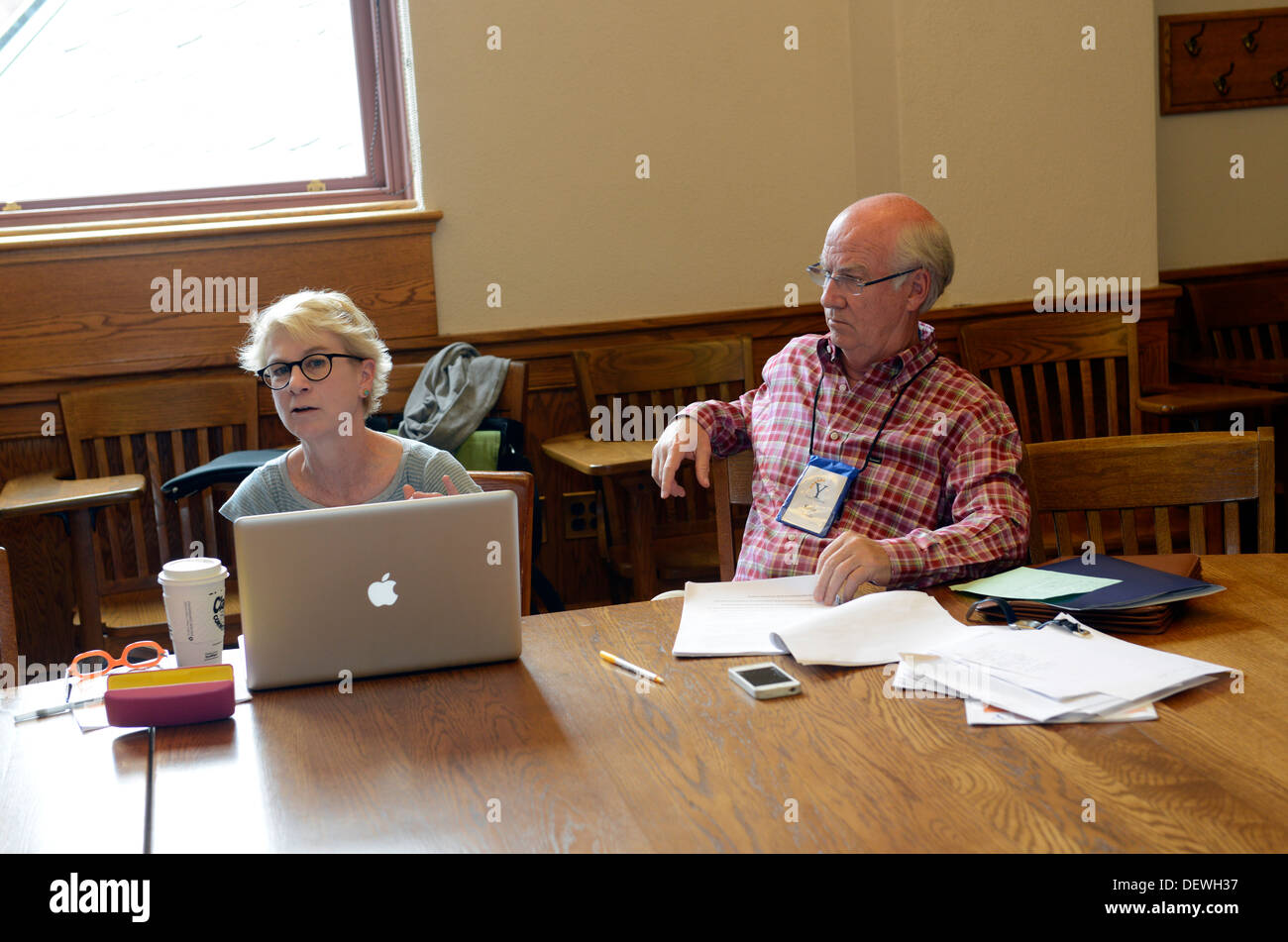 Writer's Workshop, Yale Summer School. Workshop participants in seminars. - Stock Image