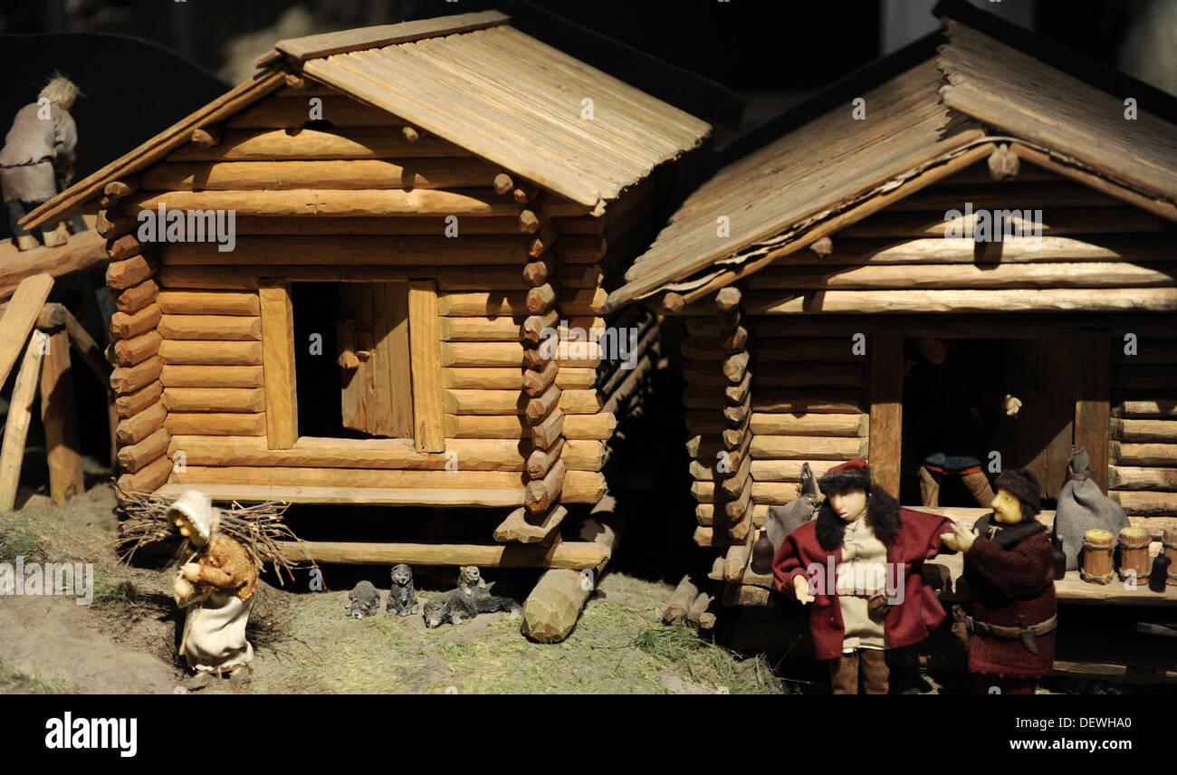 Aboa Vetus & Ars Nova. Antique reproduction wooden house. Model. Finland. Turku. - Stock Image