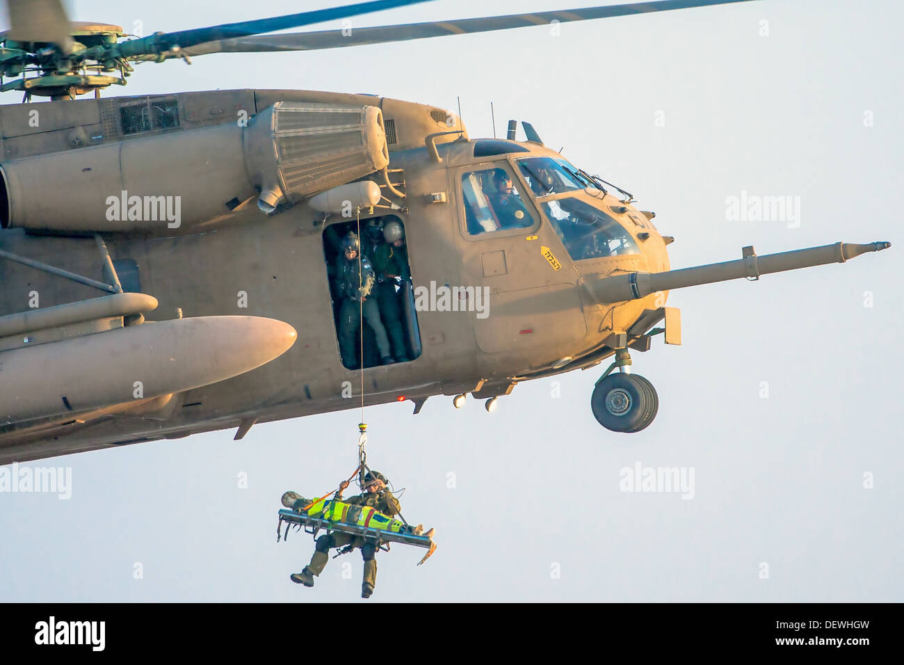 Israeli Air force (IAF) Sikorsky CH-53 helicopter during a rescue operation - Stock Image