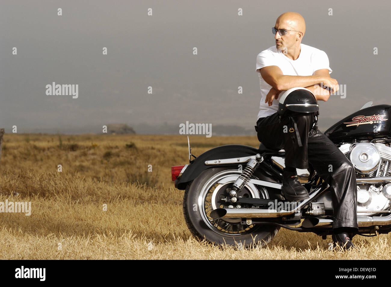 Man on Harley-Davidson Sportster Stock Photo: 60799241 - Alamy