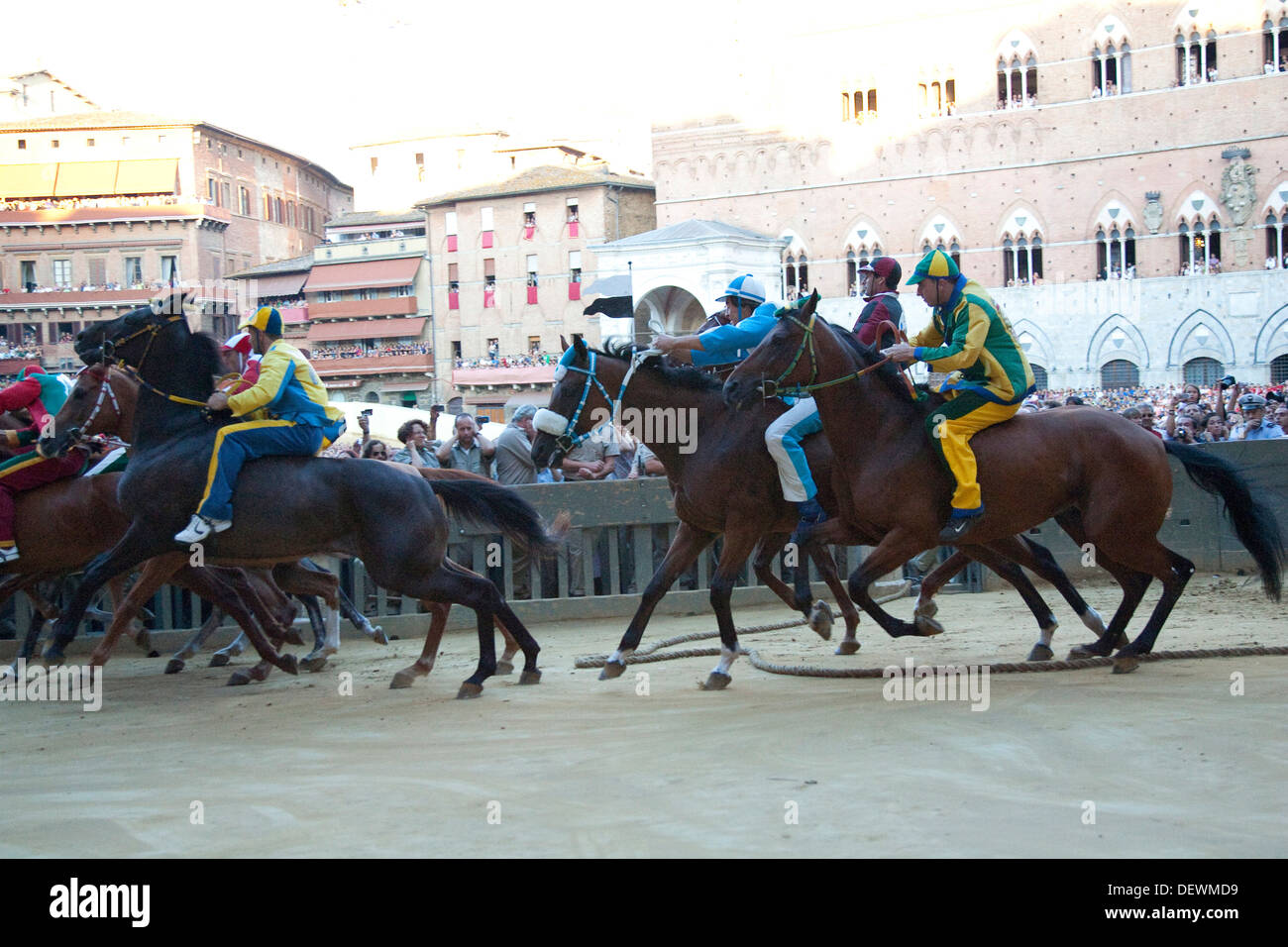palio of siena, the start, siena, tuscany, italy, europe Stock Photo