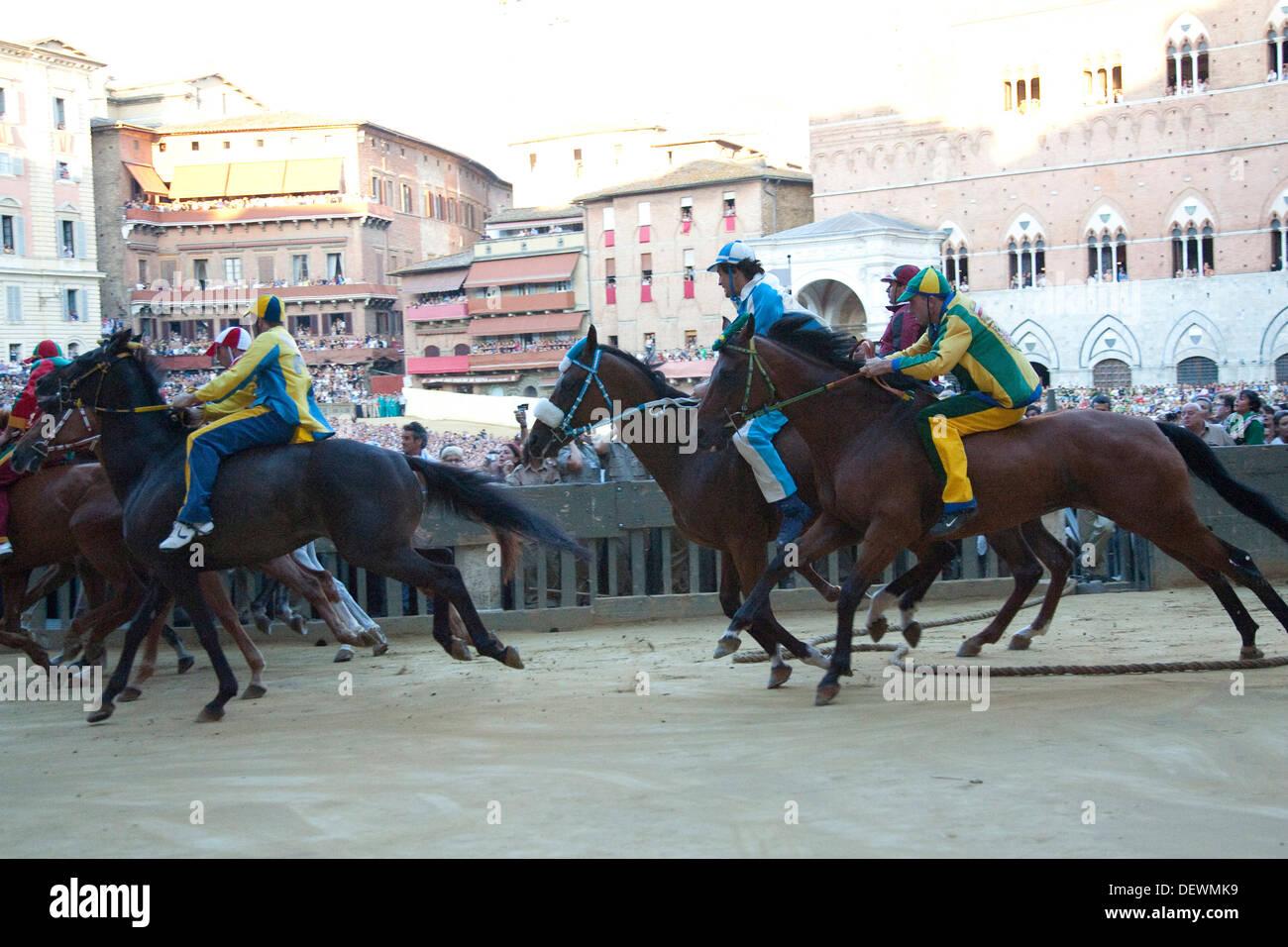 palio of siena, the start, siena, tuscany, italy, europe Stock Photo