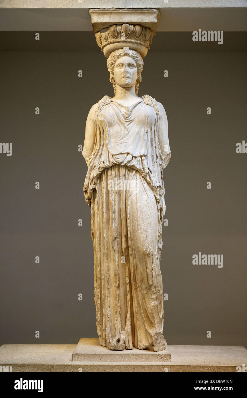 Caryatid from the Erechtheion, Athens & the Acropolis, The British Museum, London. England. UK. - Stock Image