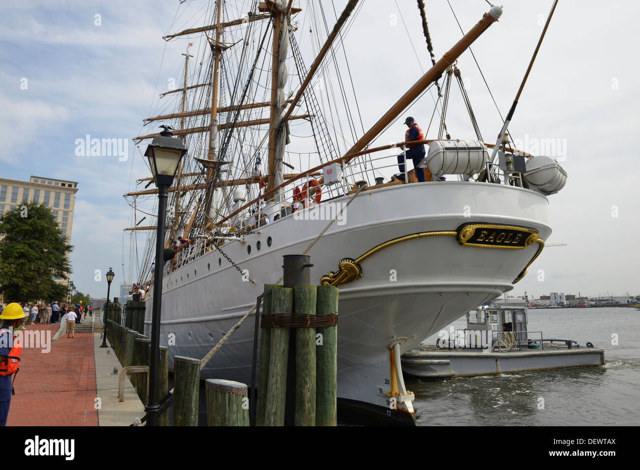 The Coast Guard Cutter Eagle is shown here moored up at the High Street Landing in downtown Portsmouth, Va., Friday, Sept. 13, 2013. - Stock Image