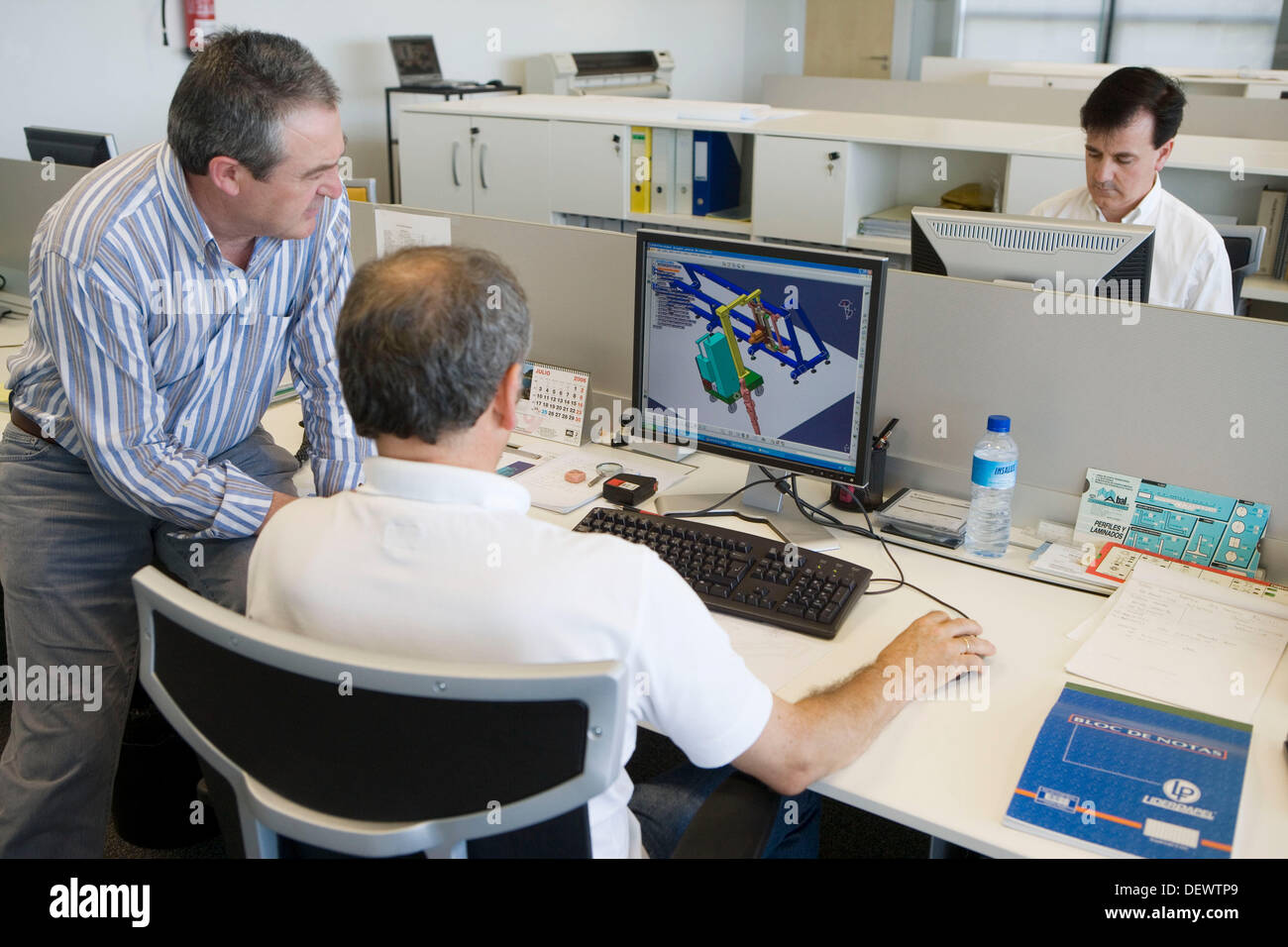 Designers working with  PCs. Cad Cam. Fatronik Foundation, Research Technology Center. Donostia, San Sebastian, Gipuzkoa, - Stock Image