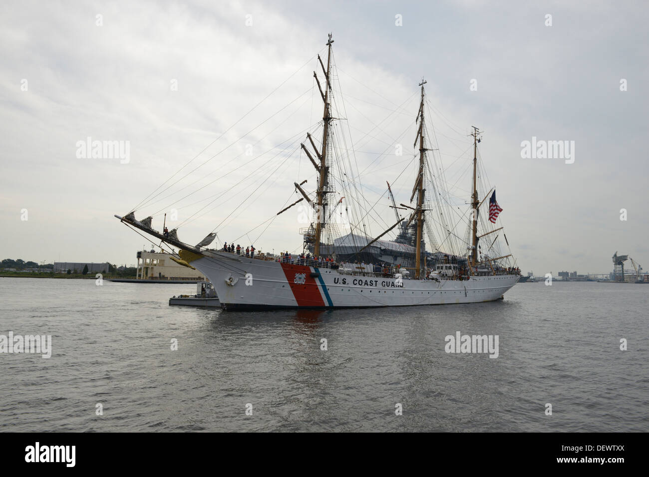 The Coast Guard Cutter Eagle is shown transisting the Elizabeth River toward downtown Portsmouth, Va., Friday, Sept. 13, 2013. - Stock Image