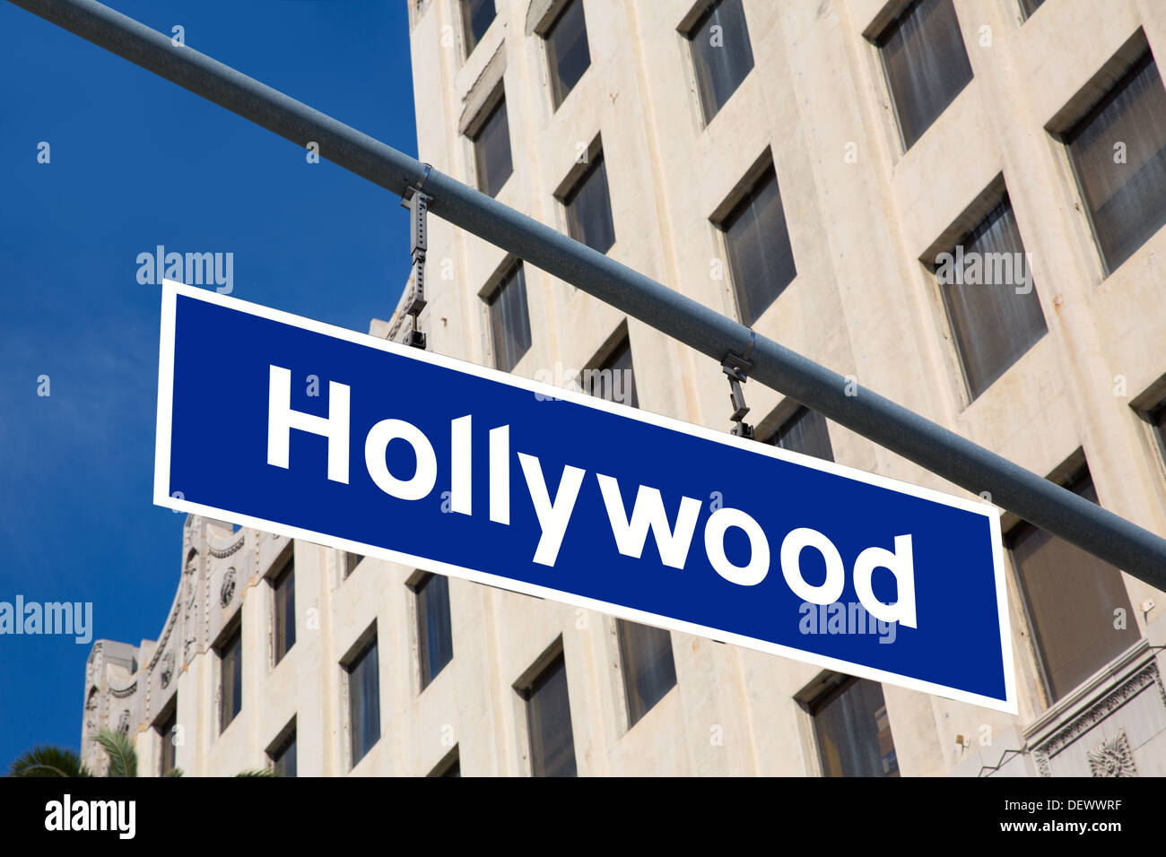 Hollywood Sign Illustration Over LA Boulevard California USA