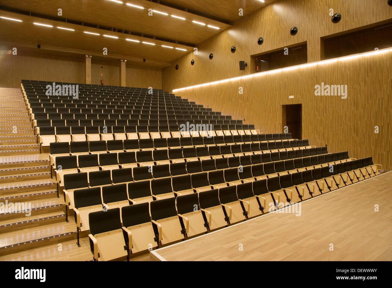 Auditorium of Juan Crisostomo de Arriaga music conservatory, Sarriko, Bilbao. Biscay, Basque Country, Spain Stock Photo