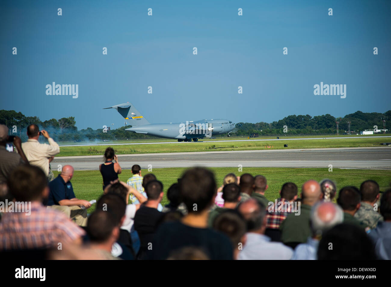 The final C-17, P-223, lands during a delivery ceremony Sept. 12, 2013, on the flight line at Joint Base Charleston - Air Base, - Stock Image