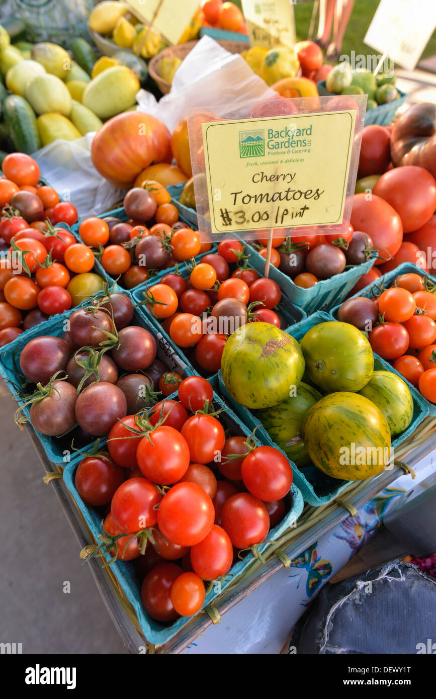 A variety of tomatoes for sale at the Wallowa County Farmer's Market in Enterprise, Oregon. - Stock Image