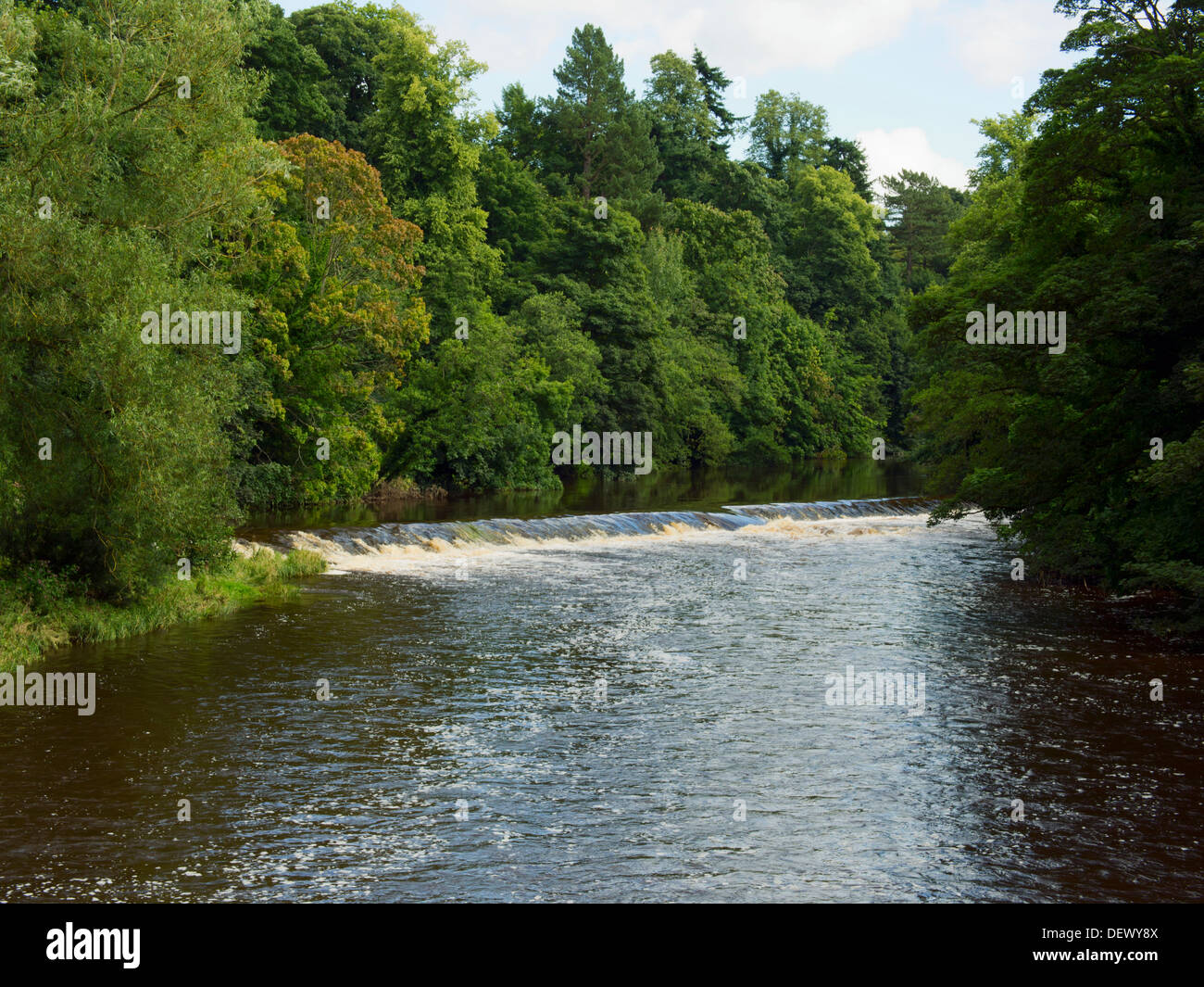 Weir in River Eden at Appleby-in-Westmorland - Stock Image