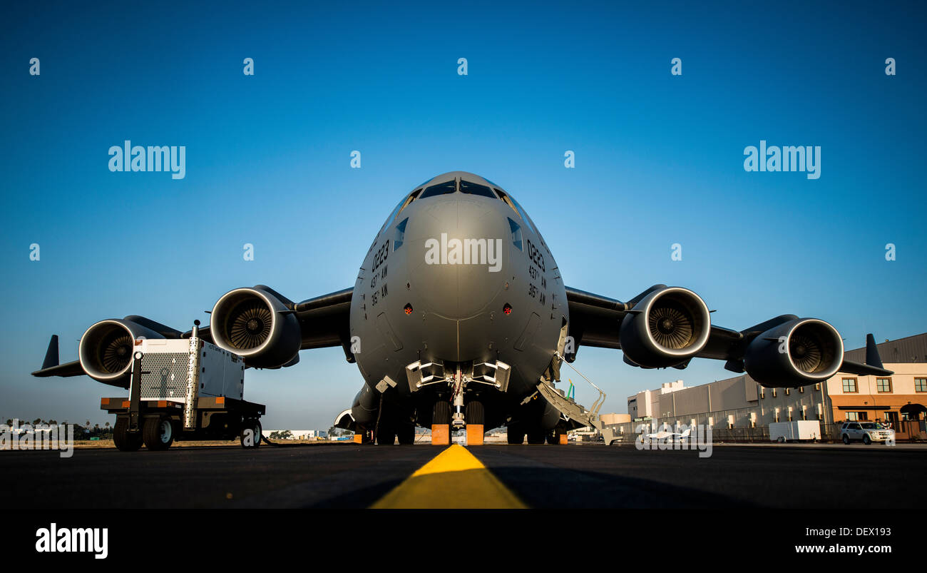 The final U.S. Air Force C-17 Globemaster III, P-223, is rolled off the Boeing assembly line and placed on the flight line durin - Stock Image