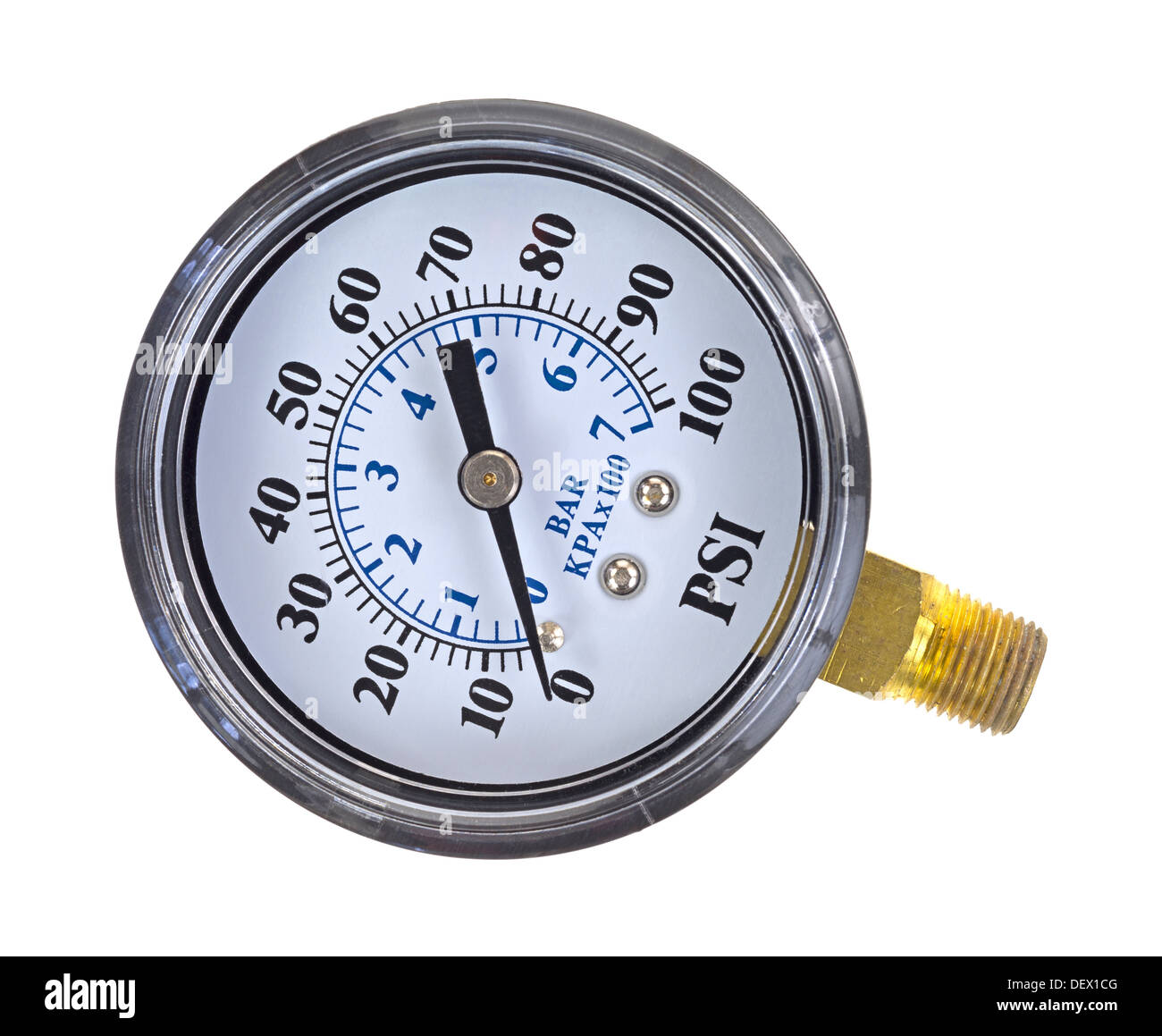 A new water pressure gauge on a white background. - Stock Image