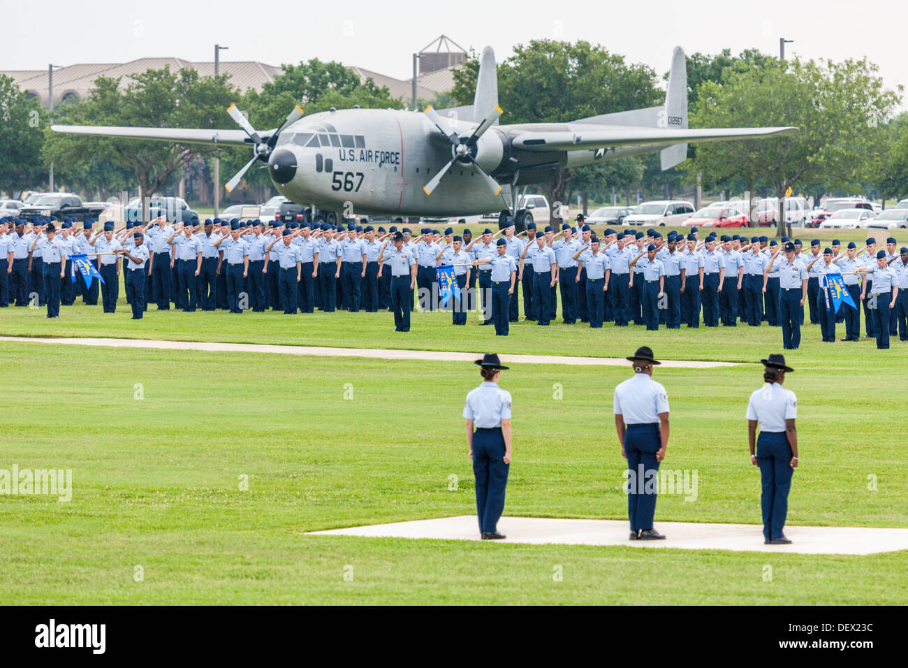 Flights of airmen in formation during United States Air Force basic training graduation ceremonies In San Antonio, Texas - Stock Image