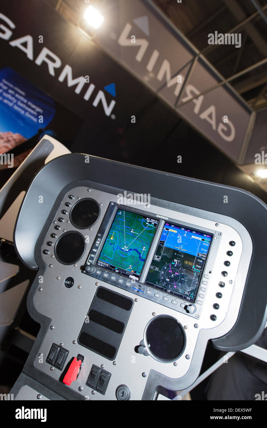 Excel, London, UK. 24th Sept, 2013. Helitech International opening day, the only European show focused 100% on helicopters featuring over 200 suppliers and manufacturers. Cockpit avionics display on the Garmin stand Credit:  Malcolm Park editorial/Alamy Live News - Stock Image