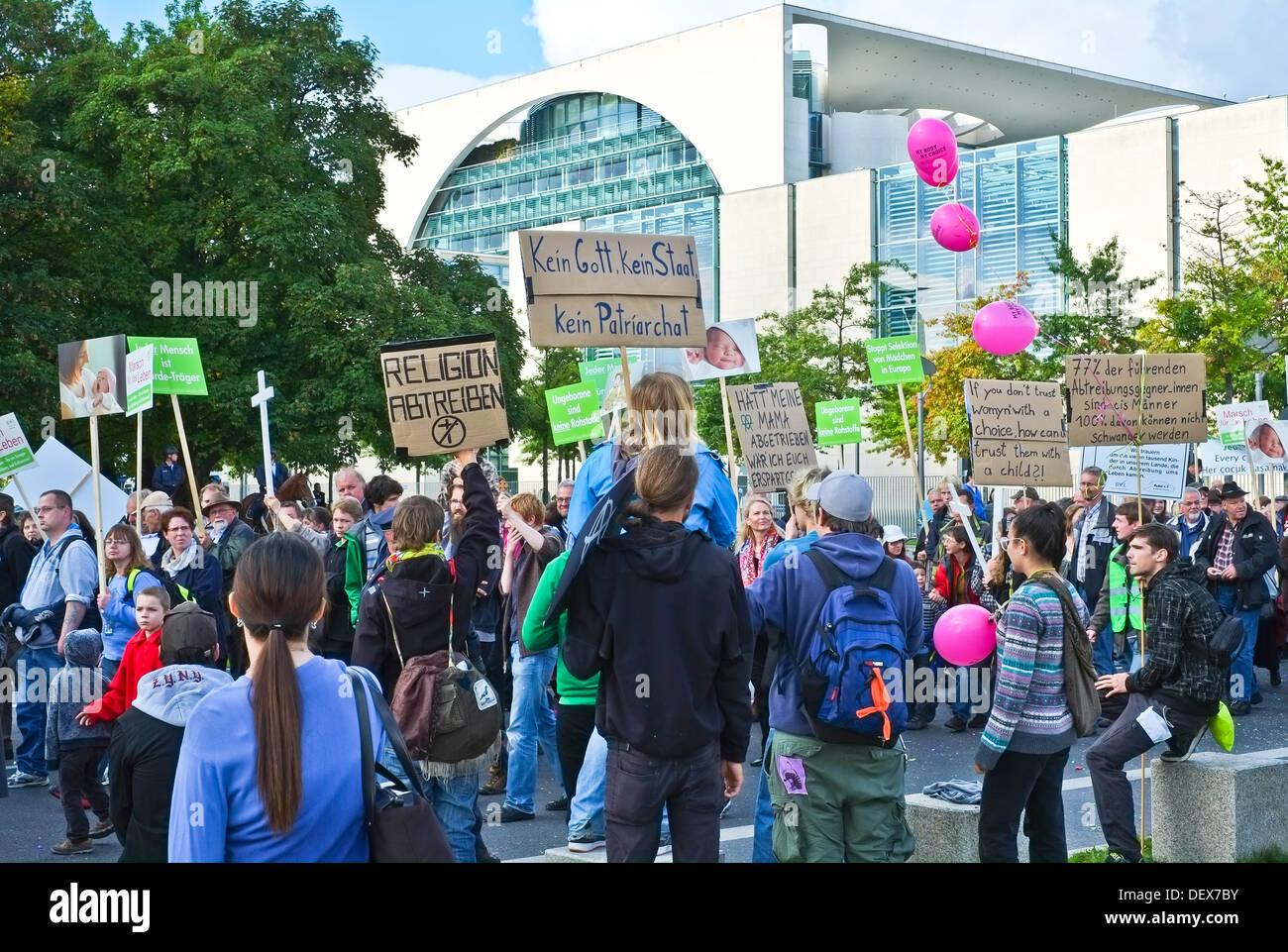 The 2013 Berlin March for Life - demonstration pro and contra abortion - Stock Image