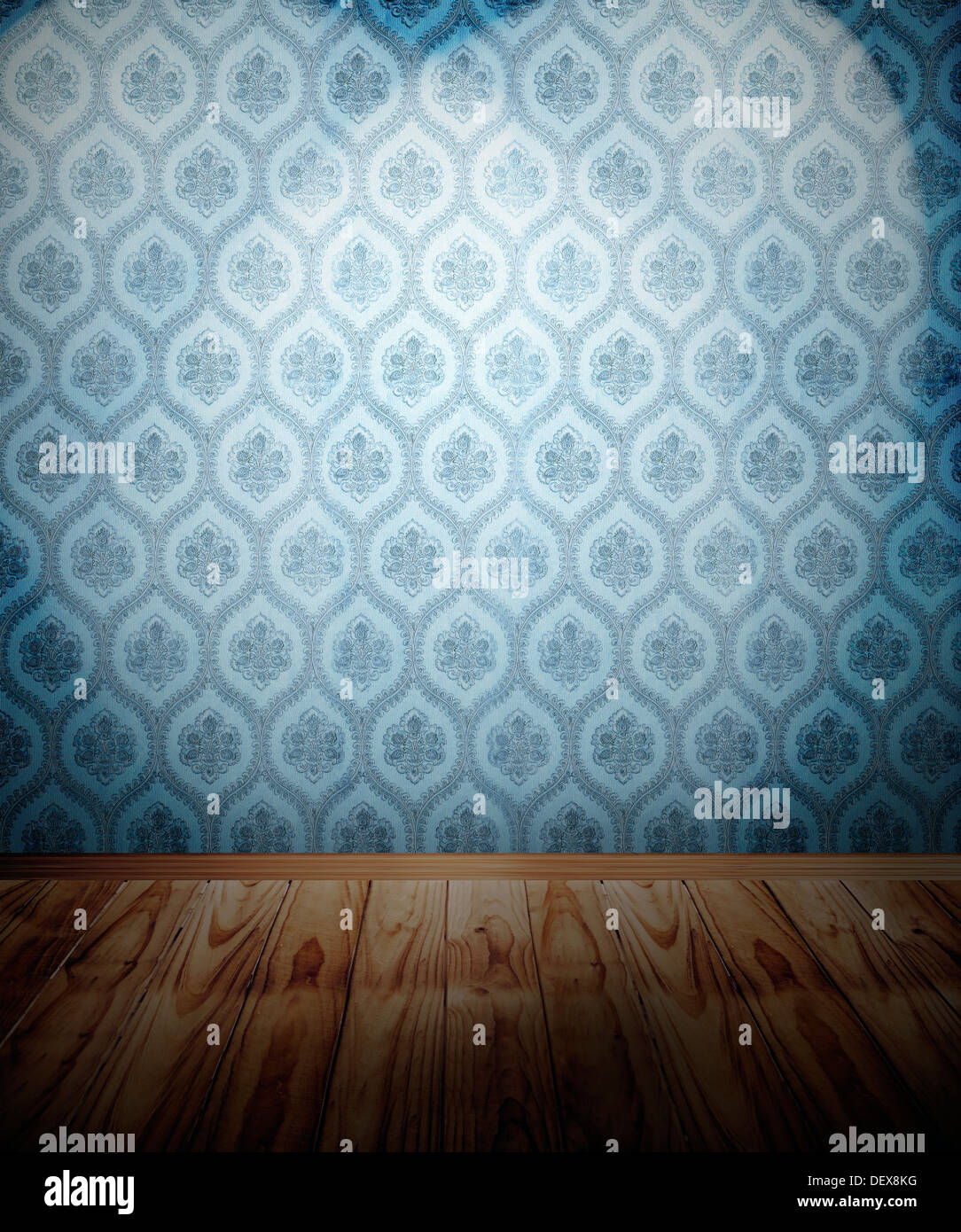 Wooden floor and spotlit wallpaper - Stock Image