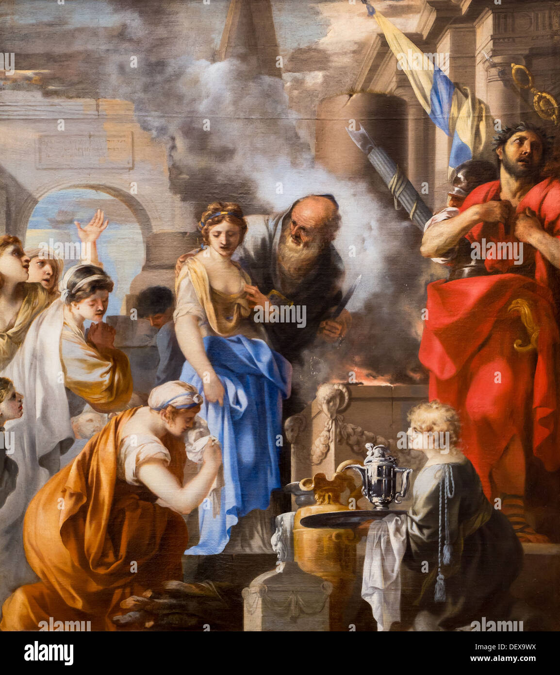 17th century  -  The sacrifice of Jephthah's daughter, around 1660 - Sébastien Bourdon oil on canvas - Stock Image