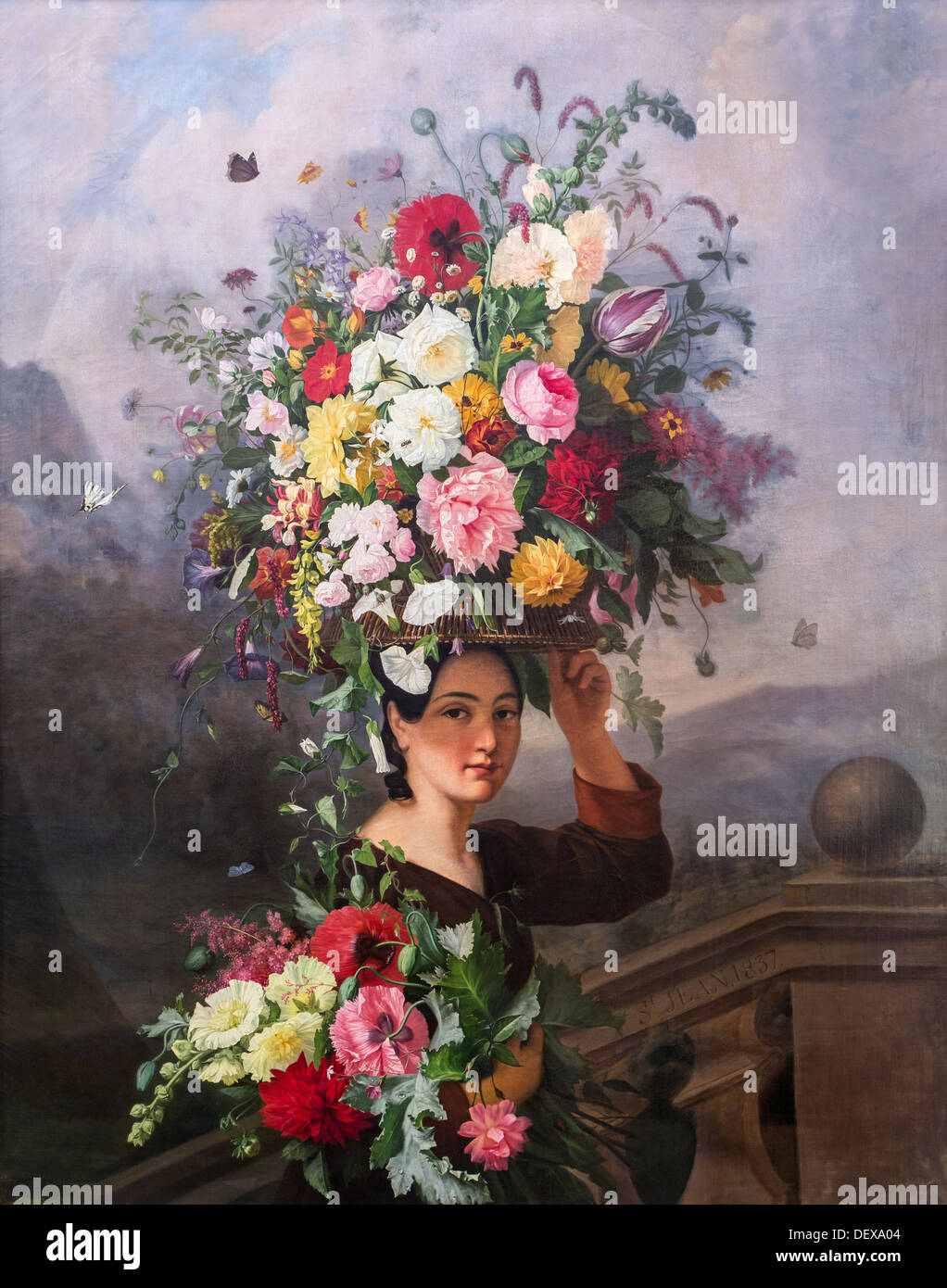 19th century  -  The Gardener, 1837 - Simon Saint-Jean Philippe Sauvan-Magnet / Active Museum oil on canvas - Stock Image