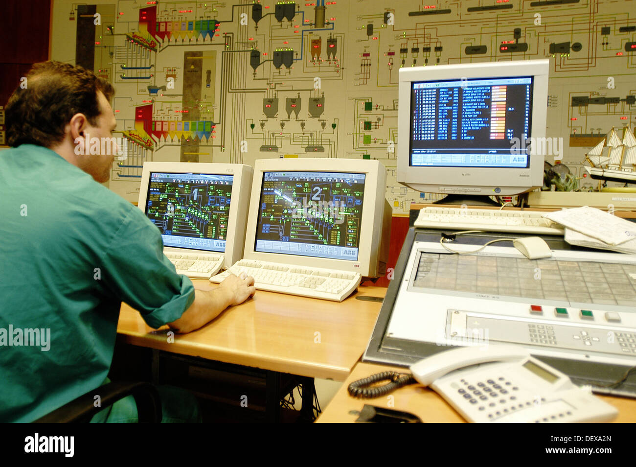 Operator Working In The Control Room In Palma De Mallorca Waste Recycling  Plant. Majorca. Balearic Islands. Spain