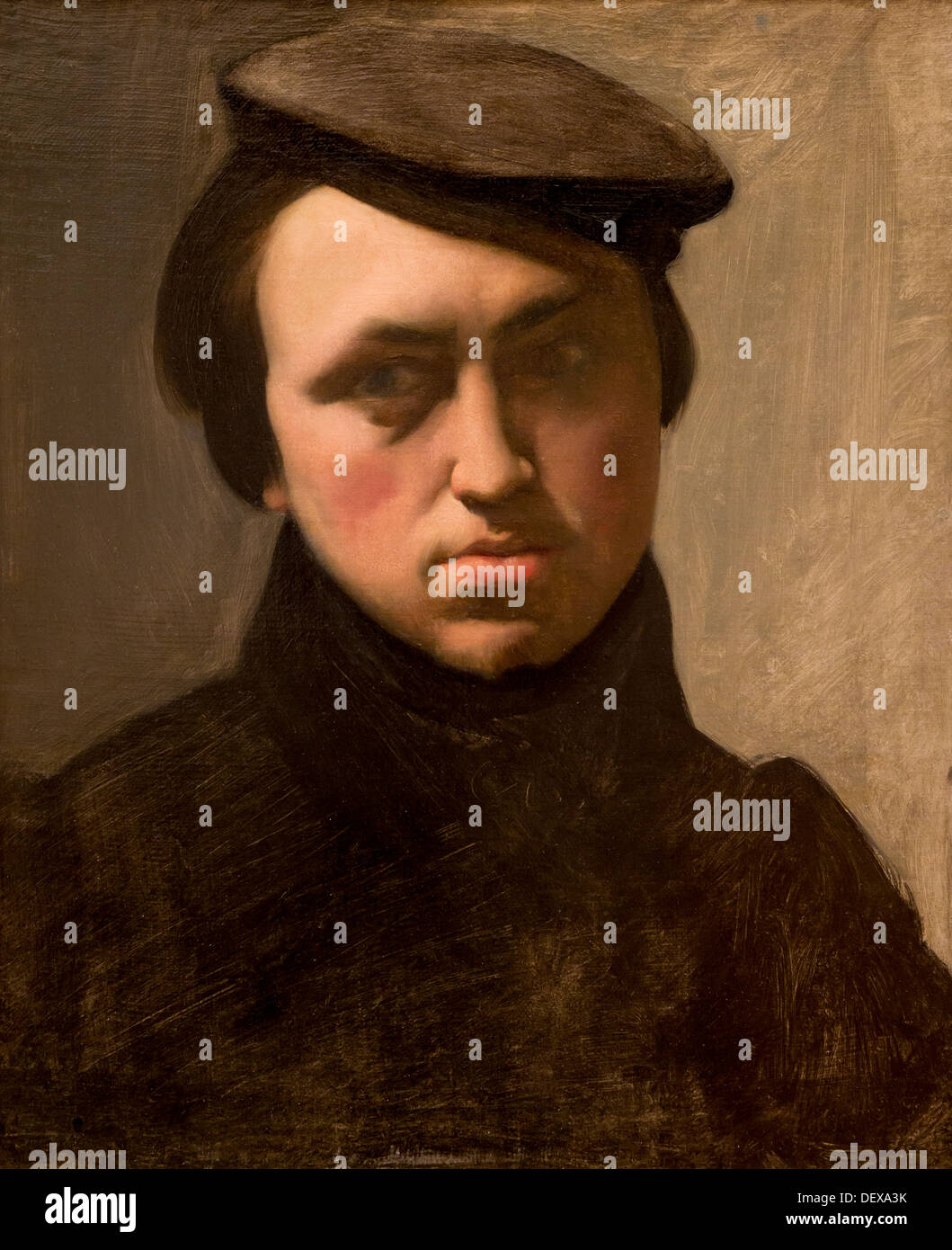 19th century  -  Self-portrait of youth with a cap, around 1835 - Hippolyte Flandrin oil on canvas - Stock Image