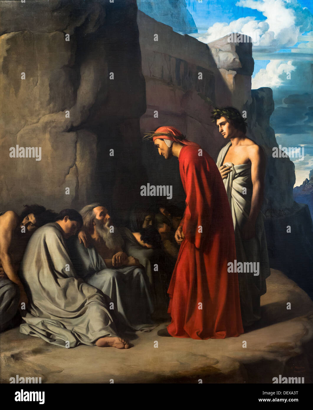 19th century  -  Dante, guided by Virgil, offers consolation to the souls of the envious, 1835 - Hippolyte Flandrin Stock Photo